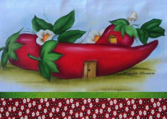 Pano de prato de sacaria branca com pintura de casinha de pimentas e acabamento feito com tecido tricoline 100% algodão de 10 cm. R$ 23,30