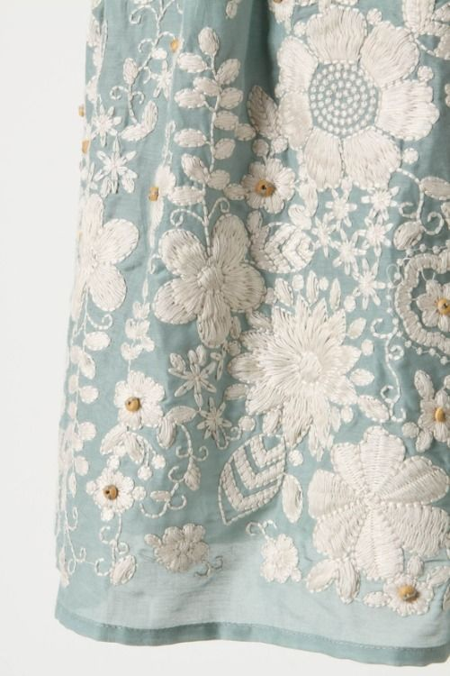 Stunning embroidery on teal cotton silk, almost unbearably pretty
