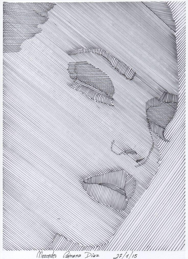 PARTE 1 : Trama lineal a mano alzada o mediante instrumentos de dibujo. En esta imagen he utilizado rotulador negro de punta fina, papel vegetal, una imagen de una revista y una regla. Le he aplicado diferentes tipos de trazos para diferenciar las distintas partes del rostro.
