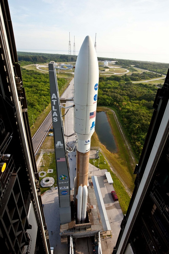 Juno EmergesCredit: Patrick H. Corkery/United Launch AllianceIn preparation for launch of NASA's Juno mission, a United Launch Alliance Atlas V rocket is rolled to the pad at Space Launch Complex-41 at Cape Canaveral.