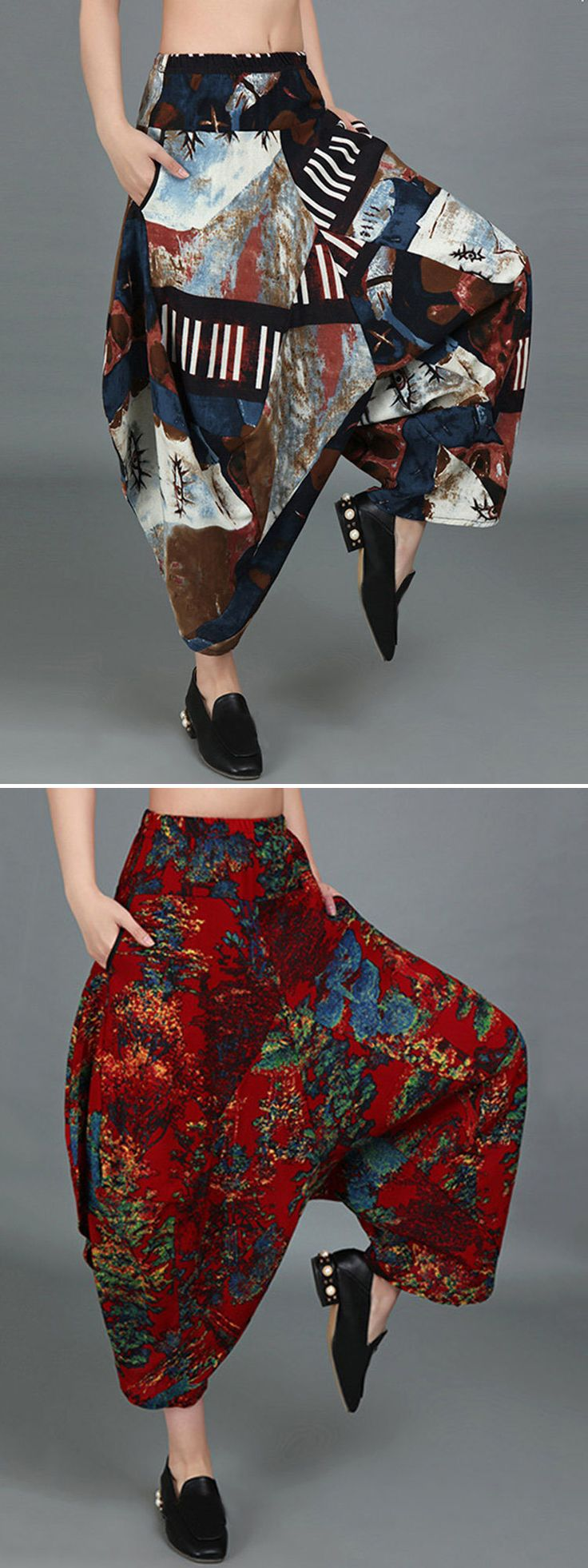 US$ 29.26 Loose Women Printed Elastic Waist Pockets Harem Pants