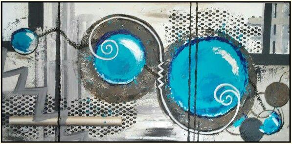 Turquoise bol schilderij 40x80x4cm Kunst Abstract Handgeschilderd  €125,00 Www.creativeartbyjessica.nl