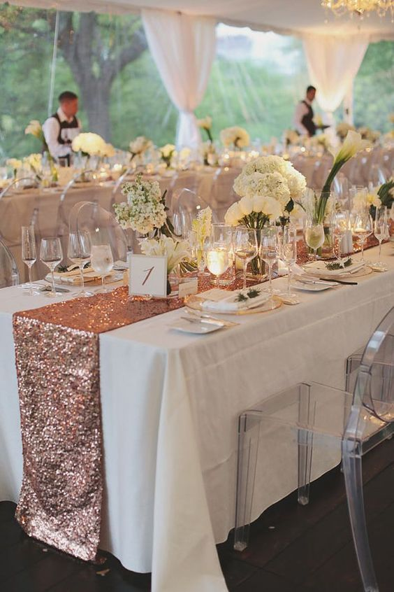blush rose gold sequin table runner and tablecloth / http://www.himisspuff.com/rose-gold-metallic-wedding-color-ideas/8/