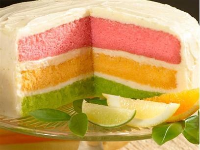Layered citrus cake-pink lemonade, orange and key lime with cream cheese frosting                                                                                                                                                                                 More