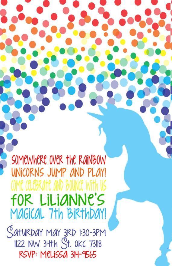 Rainbow Unicorn Birthday Invitation Rainbow Party Unicorn
