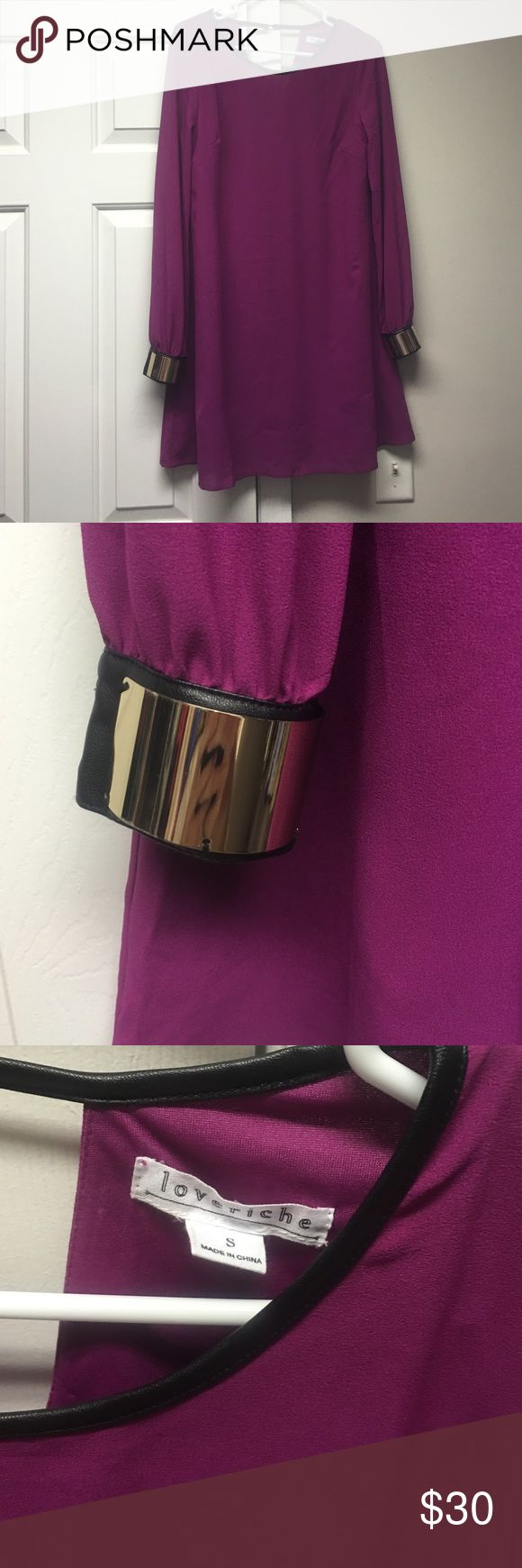 Loveriche long sleeve dress Purple long sleeve dress. Gold cuffs. Leather around the neck line. Small. Loveriche brand. Worn once. Loveriche  Dresses Long Sleeve