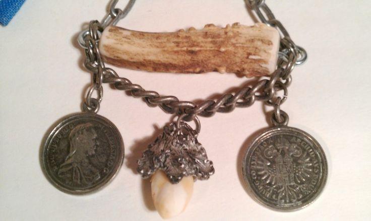 Trachtenschmuck - Charivari Münzen Grandl Geweihstange CHIC URIG - ein Designerstück von Helenehoelle bei DaWanda