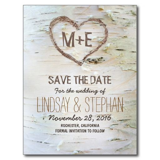 Cool Birch bark rustic save the date postcards