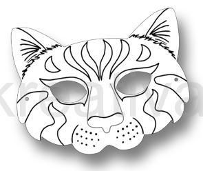 Papírová maska pro následnou dekoraci s motivem kočky- 1ks