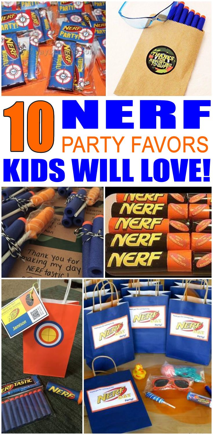 Kids birthday party favors! Best Nerf party favor ideas for your boys or girls bday. Find goodie bag ideas, DIY ideas, Nerf gun bullets, Nerf Gun, candy, easy, cheap and more. Get the coolest ideas for your Nerf theme party. Find the best party favor ideas now!