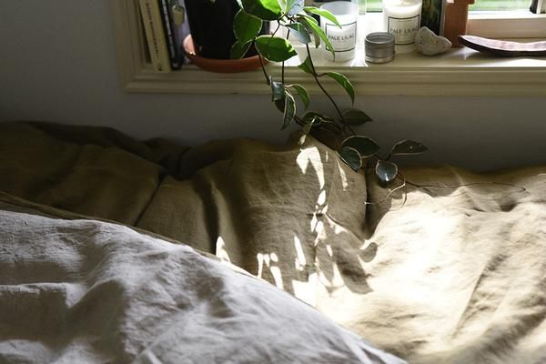 olive and natural duvet cover