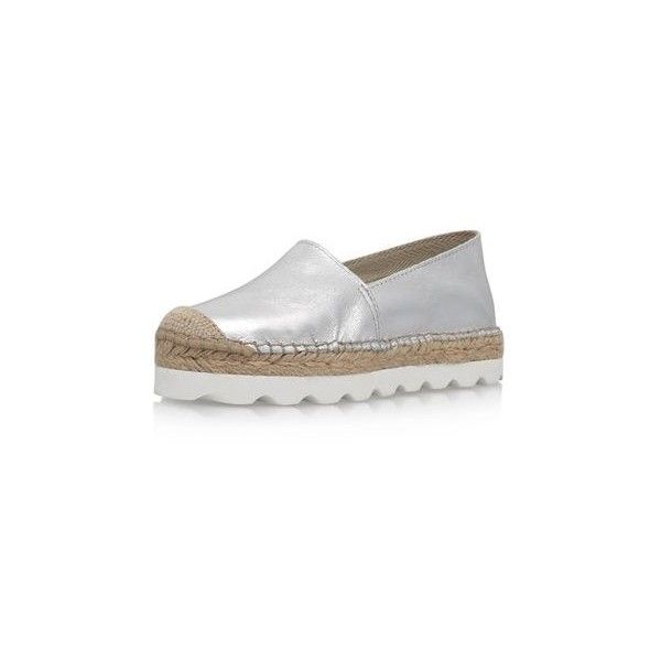 Lido Silver Flat Slip on Espadrille Sneakers by Carvela Kurt Geiger (15725 ALL) ❤ liked on Polyvore featuring shoes, sneakers, silver, flat sneakers, slip-on shoes, slip on flats, silver slip on sneakers and flat pumps