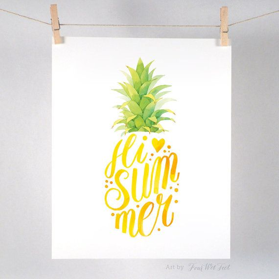 Hi Summer Pineapple   Art Print of watercolor by FourWetFeet