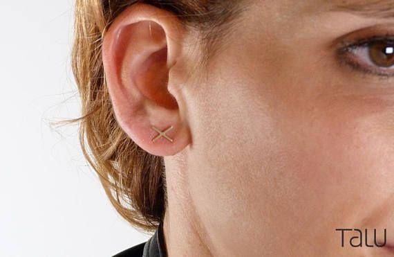 X Earrings Plus Sign Earrings Gold X Earrings Crisscross