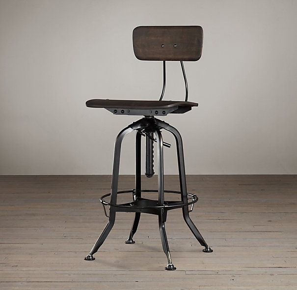 Vintage Toledo Bar Chair Distressed Black | Bar & Counter Stools…