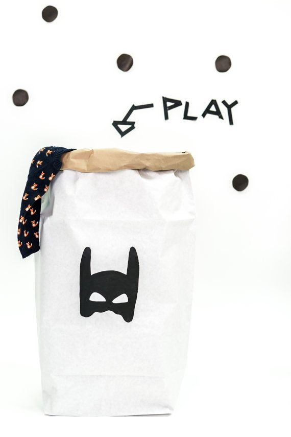 Superhero paperbag storage of toys books or teddy by Tellkiddo