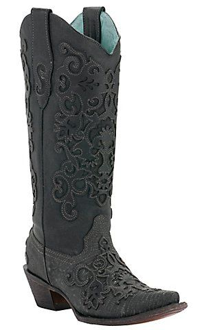 Corral® Ladies Black Lizard w/ Leather Lace Overlay Snip Toe Exotic Western Boots | Cavender's Boot City