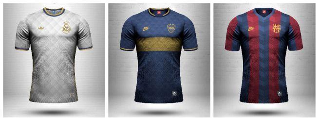 El diseñador Emilio Sansolini bosquejó las camisetas de diferentes equipos con sus actuales marcas deportivas, pero con el diseño de otras épocas.