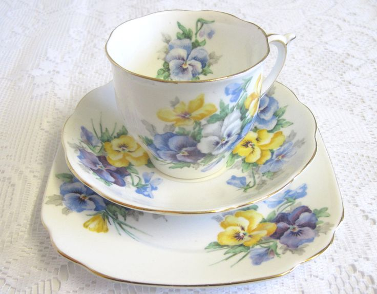 CIJ Vintage English China Tea Trio, Blue and Yellow Pansies by TheWhistlingMan on Etsy SOLD