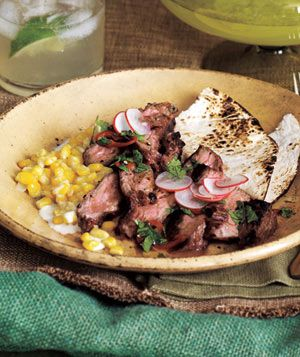 Grilled Steak With Cilantro Sauce and Creamed Corn