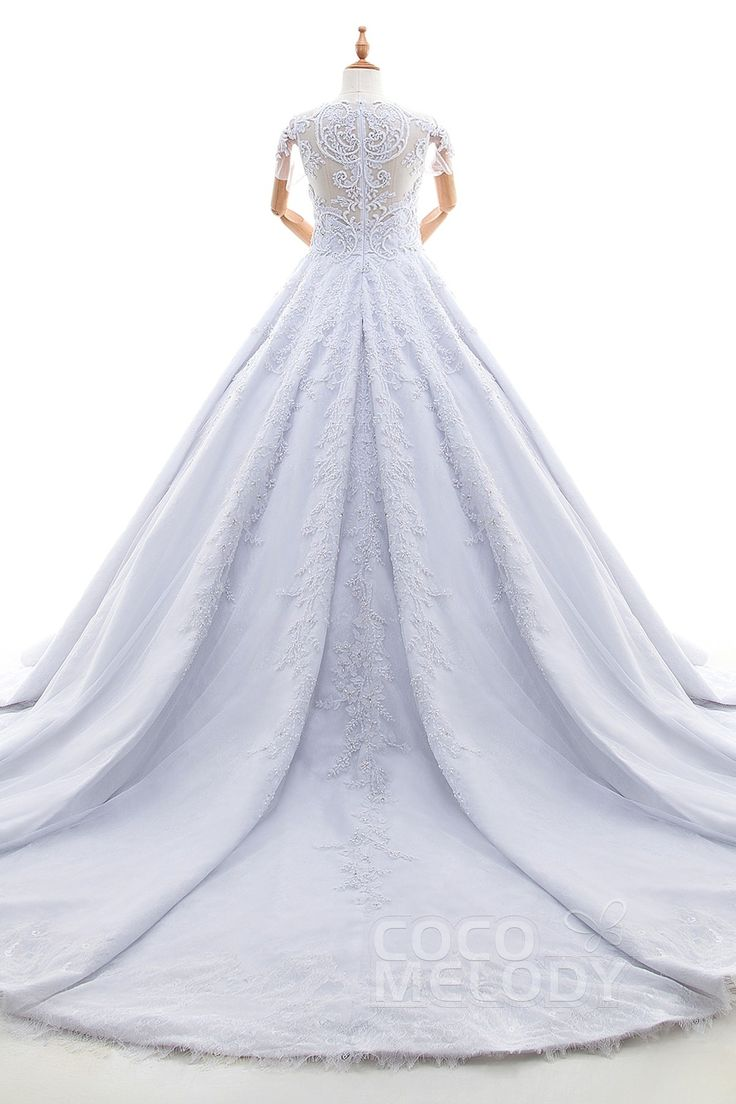 Charming Princess Illusion Natural Cathedral Train Satin Tulle and Lace White Short Sleeve Zipper Wedding Dress with Appliques and Beading LD4233#cocomelody#wedding dress
