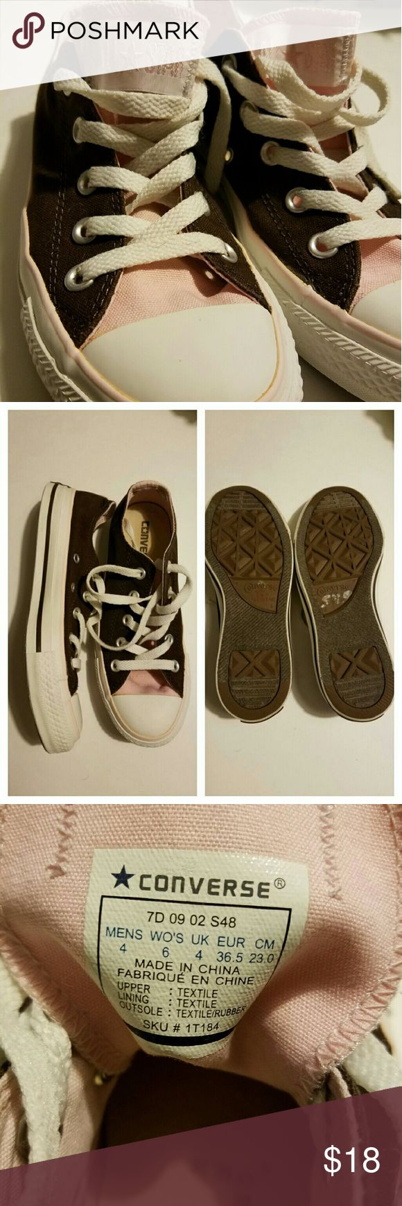 Pink & Brown Converse All Star Soes These cute shoes by converse are two-toned with light pink and brown. Excellent condition. Women's size 6. Converse Shoes Sneakers