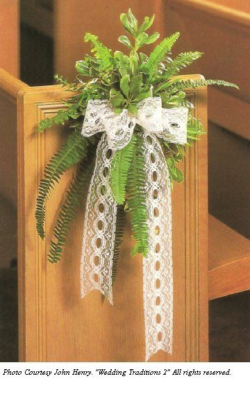 Delightful Pew Bows With Greenery   Church Wedding Decorations