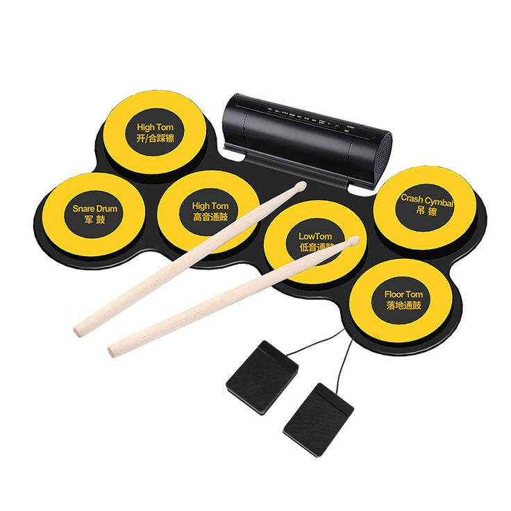 Electronic Drum Pad - 6 Drum Pads, 2 Foot Pedals, USB Port, Earphone Jack, Self-recording, Portable Design - Get this electronic drum that offers a self-recording function. It comes with a pedal expansion and an audio input interface for realistic sound.
