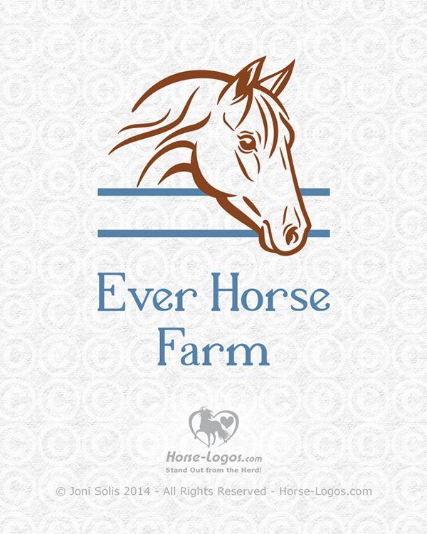 Customized stock logo design for Ever Horse Farm by Joni Solis of Horse-Logos.com #horselogo #design