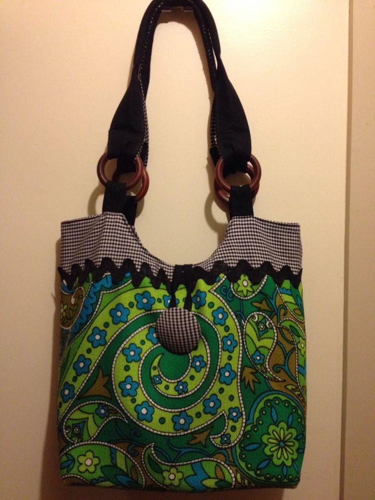 Repurposed tablecloth tote