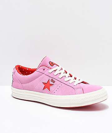d876321c352d56 Converse x Hello Kitty One Star Pink   White Skate Shoes