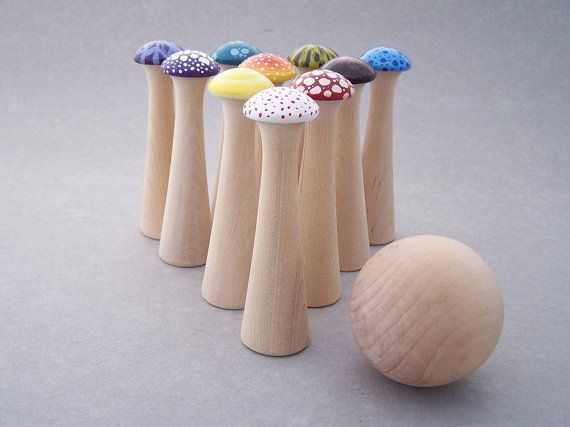 Tim Burton / Alice in Wonderland inspired toadstools! Small batch, hand painted wooden toy bowling game.