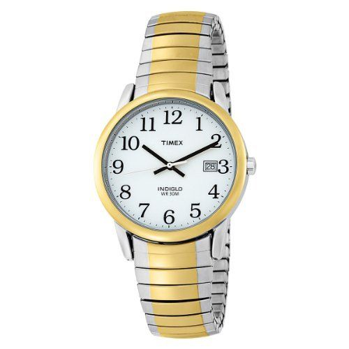 Timex Men's T2H311 Easy Reader Two-Tone Expansion Band Watch Timex. $28.92. Simplicity and style make this the perfect watch for daily wear. Three-hand quartz analog movement with date display. Easy-read display with large, clear numbers. Indiglo dial illumination for low-light reading. 37mm diameter two-tone metal case