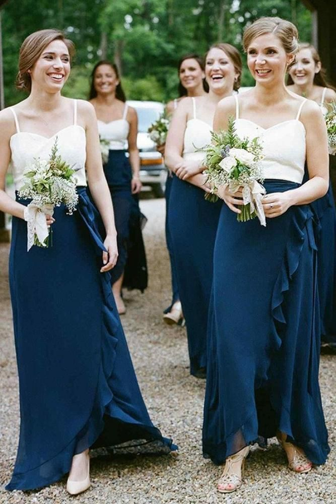 f7d9fe9be54 A-Line Spaghetti Straps Dark Blue Chiffon Bridesmaid Dresses With Ruffles  Sweetheart