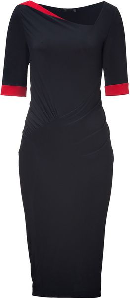 Donna Karan New York Black Blacklipstick Red Bicolor Draped Dress