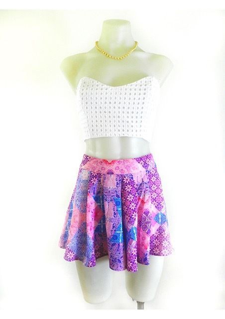 Byron Boho High Waisted Pink Purple and Blue Festival Full Shorts