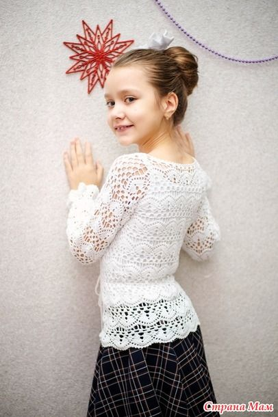 школьная блузка крючком детские модели крючком и спицами