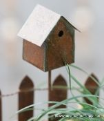"Traditional Birdhouse from ""Miniature Garden Shoppe"" (hummingbird feeder also from this shop"