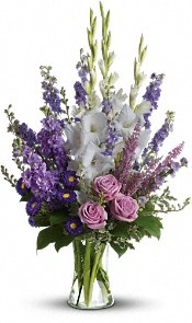 Purple & white gladiolus arrangement