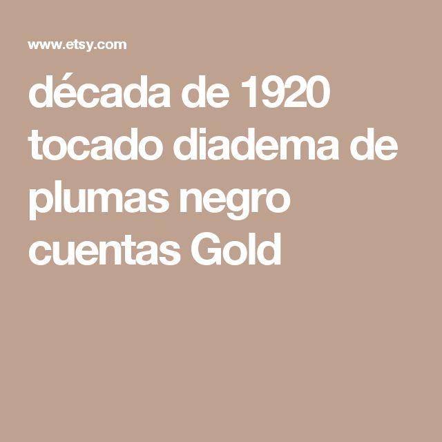 década de 1920 tocado diadema de plumas negro cuentas Gold