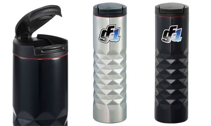 Traverse Stainless Steel Tumbler features an intricate geometric cut. Flip top lid and double-wall vacuum insulated.