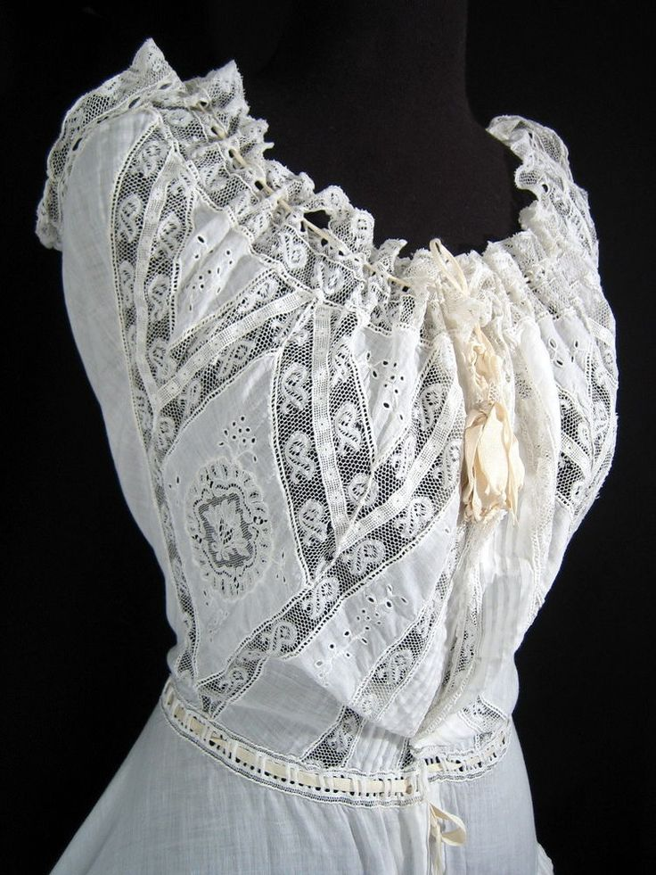 1900's INTRICATE VICTORIAN CHEMISE Gown Dress Edwardian Lace Camisole Wedding Xs #Unbranded
