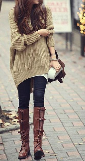 Chunky sweater & boots.