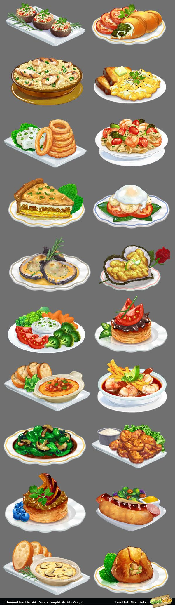 Food Illustrations for Chefville by Richmond Lee Chaisiri from Art-Eater