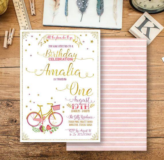 bike girl birthday invitation Gold girl birthday party