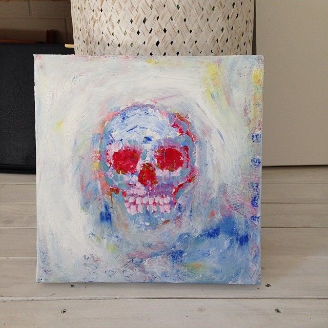 skull knife painting