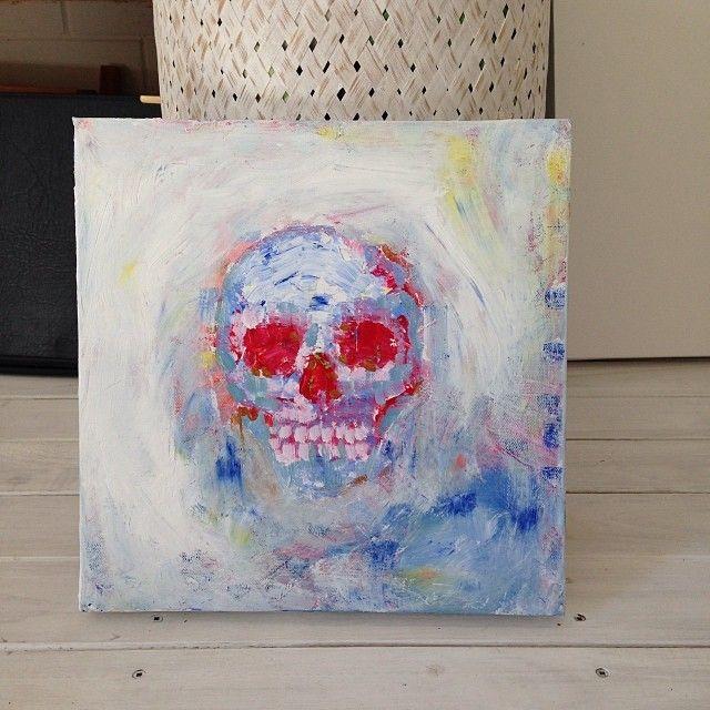 skull knife painting