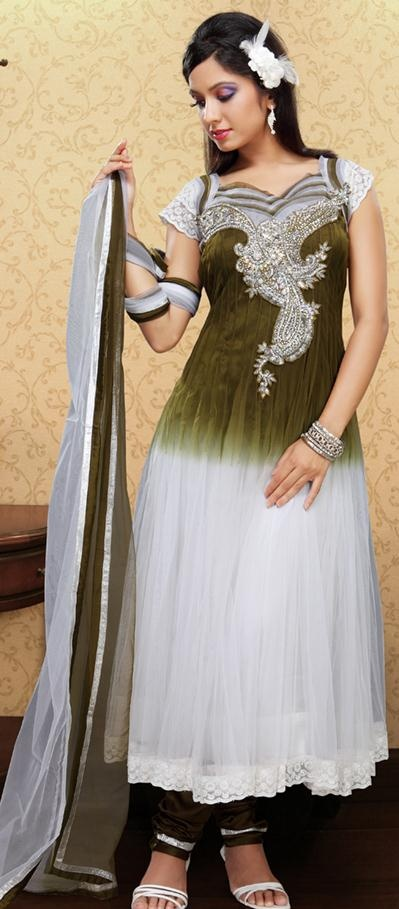 #Green #Short #Sleeve #Faux #Georgette #Long #Anarkali #Salwar #Kameez make you look perfect for this coming occasion