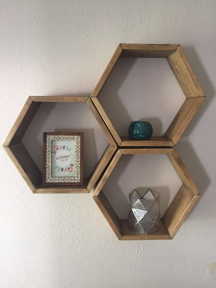 Set of three, wood hexagon shelves, hexagon shelf, geometric shelf, wall hanging, wall decor, honeycomb by fredandmarie on Etsy https://www.etsy.com/listing/248871929/set-of-three-wood-hexagon-shelves