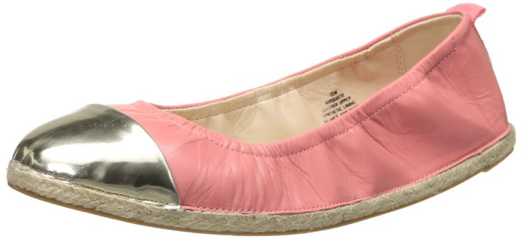 Nine West Women's Quotie Leather Ballet Flat, Pink Orange/Light Gold, 9 M US. Leather. Metallic. Espadrille. China. The heel height is 1/2 inches and the color is Pink/Light Gold.